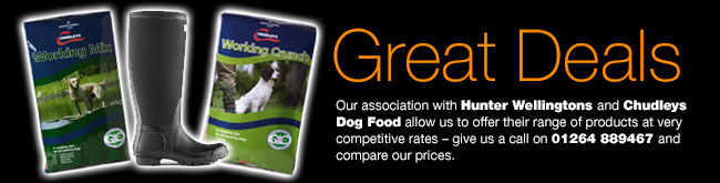 Great Deals with Hunter Wellingtons and Skinners Dog Food